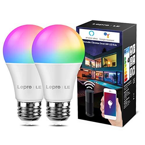 LE Lampadina LED Intelligente WiFi E27 RGBW 9W, Equivalente a 60W, Lampadina Smart Luce Dimmerabile RGB + Bianco Caldo 2700K, Compatibile con Alexa e Google Home, Controllo da App iOS&Android, 2 Pezzi