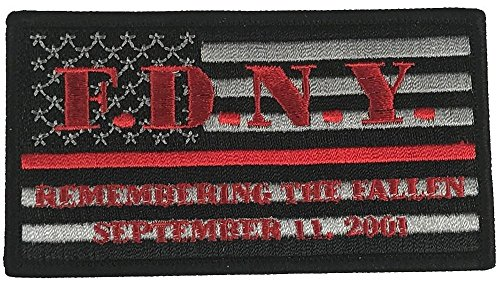 FDNY REMEMBERING THE FALLEN SEPTEMBER 11, 2001 FLAG RED LINE FIRE FIGHTER PATCH - Color - Veteran Owned Business.