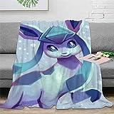 STTYE Manta cálida para dormitorio, diseño de Pokémon, de dibujos animados, 100 x 130 cm, manta de microfibra cómoda, para el hogar, sofá, ropa de cama, oficina, coche