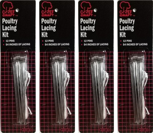 Chef Craft Poultry Lacing Kit | 12-Pins plus 54-Inches of Lacing per Pack | 4-Pack Total