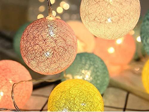 Elflandis Baumwollkugeln Lichterkette 20 Cotton Balls Deko mit 20 Kugeln 310 cm Ø 6cm Mit An/Aus Schalter und Blinklicht Funktion [Energieklasse A+] (Macaroon 1)