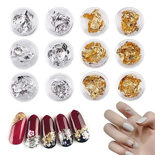 12 Döschen Folien Nail Art Glitter Nagelfolienaufkleber Folienflocke Acrylnägel Glitter Goldfolie für DIY Nail Art Décor