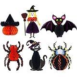 6 piezas Set Colgante de Panal de Halloween Pieghevole Papel 3D Colgando Decoraciones Bruja Araña Murciélago Props para Fiesta Temática de Terror