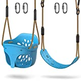 BeneLabel Cute Elephant High Back Full Bucket Toddler Swing and Heavy Duty Swing Seat Combo Pack, Playground Swing Set Accessories Replacement, Adjustable Rope, 600LB Capacity, 4 Carabiners, Blue