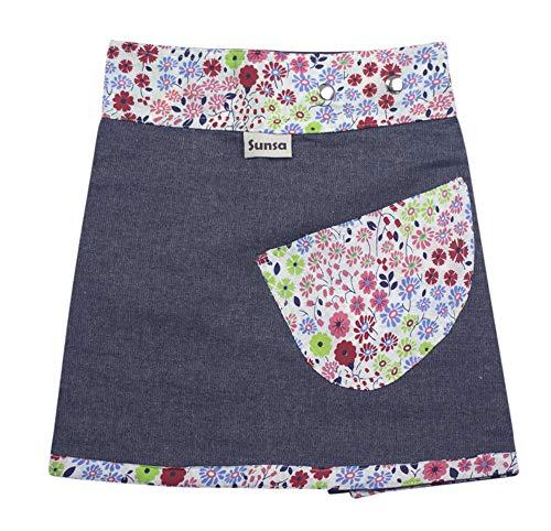 Sunsa Mädchen Rock Minirock Jeansrock Wende-Wickelrock Sommerrock kurz, Mini Jeans Mädchenrock Girls Skirt, 2 Kinder Röcke in einem, Verstellbarer Größe, Kid's Coole Sachen, Geschenk 15701