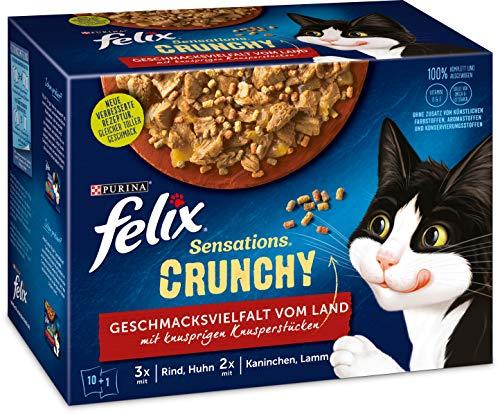FELIX Katzennassfutter Sensations Crunchy in Gelee mit Crunchy Knusperstückchen Geschmacksvielfalt vom Land, 6er Pack (6 x 10 x 85g)