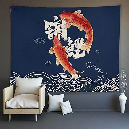 KHKJ Japón Kanagawa Waves Impreso Tapiz Colgante Ballena Arowana Tapices Colgantes Boho Colcha Yoga Mat Manta A14 95x73cm