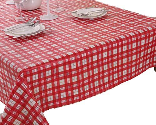 VINYLLA - Mantel para Mesa (PVC, de fácil Limpieza), diseño de Cuadros, Color Rojo - Round(Dia.160cm)