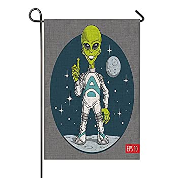 HOSNYE Cute Alien Character Garden Flag Vertical Double Sided Cartoon Comic Funny Science Cosmos Rustic Farmhouse Flag Yard Outdoor Decoration 12.5 x 18 Inch