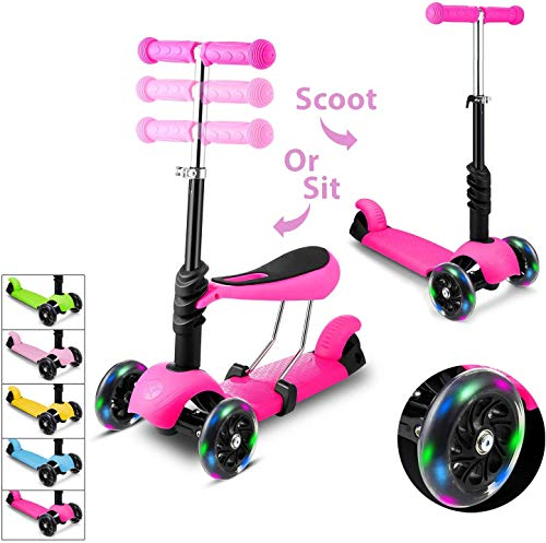 WeSkate Mini Scooter for Kids Lights Up Scooters for Toddlers Girls amp Boys Removable Seat amp Adjustable Height Design for Children Ages 28