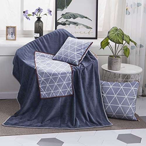 HMG Patrón Blue Diamond Multifuncional Felpa Almohada edredón Manta Plaza Oficina del Coche Amortiguador de la Almohadilla, Tamaño: M
