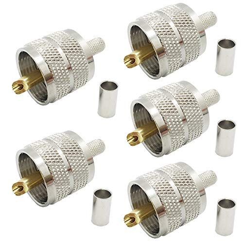 Pack of 5 UHF PL-259 PL259 Male-Plug Crimp Coax Connector Adapter RF Connector for RG58/U LMR195 Coax Cable Compatiable with Ham Radio  (UHF Male Crimp RG58)