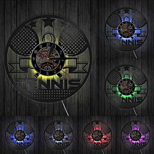 Reloj de Pared de Tenis Reloj de Pared de Tenis Raquetas de Tenis Cruzadas Arte de Pared decoración de Pared de Gimnasio Reloj de Pared de Vinilo Vintage Regalo de Tenis con LED