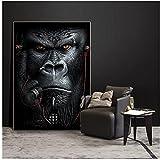 Simios y monos escuchando música carteles e impresiones artísticos de pared animales abstractos pinturas en lienzo imagen nórdica para sala de estar