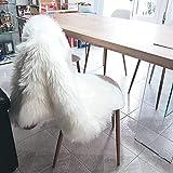 bedee Lammfell Teppich Schaffell Lammfellimitat Schaffellimitat Wollteppich Faux Teppich Kunstfell Nachahmung Wolle Bettvorleger Sofa Matte Longhair Fell (Weiß, 75 X 120 cm)