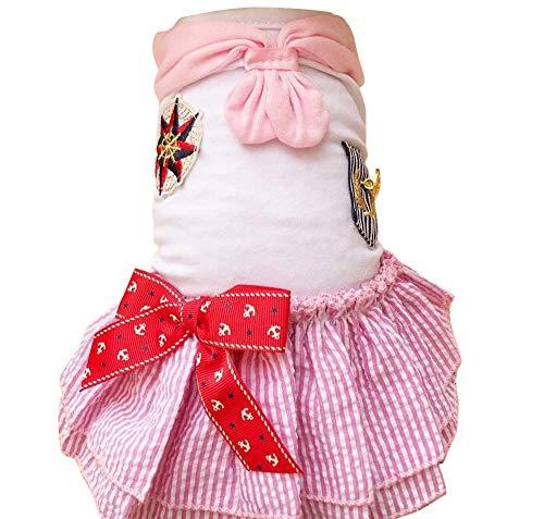 Plus Nao(プラスナオ) ドッグウェア ワンピース ペット服 犬の服 犬服 ペット用品 ギャザー ノースリーブ マリン セーラー ストライプ リボ ピンク L