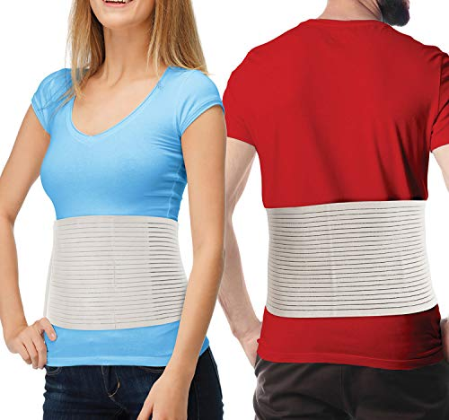 Hernia Belt for Men and Women – Beige Abdominal Binder Belly Band for Umbilical Hernias & Navel Belly Button Hernias with Compression Pad for Hernia Support and Stomach Hernia Brace Pain Relief (S/M)