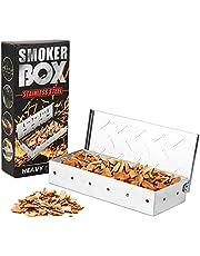 Baskiss Röklåda, rökbox i rostfritt stål rökt låda för grillar för gasgrill och kolgrillar, inklusive oljeborste
