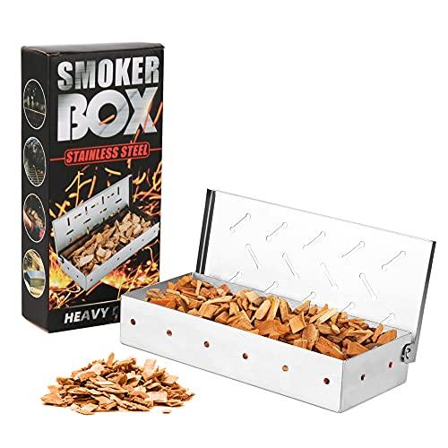 Baskiss Räucherbox, Smokerbox aus rostfreiem Edelstahl geräucherte Box für Barbecues für gasgrill und Holzkohlegrills, einschließlich Öl-Bürste
