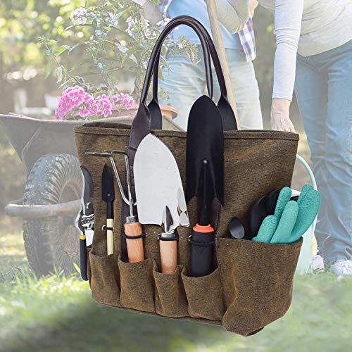MDSTOP Canvas Garden Tool Tote Bag, Heavy-Duty Gardening Pouch, Vegetable...