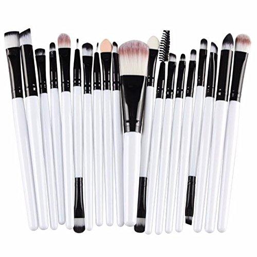 Nourich Lot de 20PCS brosse de maquillage ,Professionnel synthétique Maquillage pinceaux Yeux Poudre Fond de Teint Ombre à paupières Eyeliner Lip Brosse pour de beaux femelle (01#)