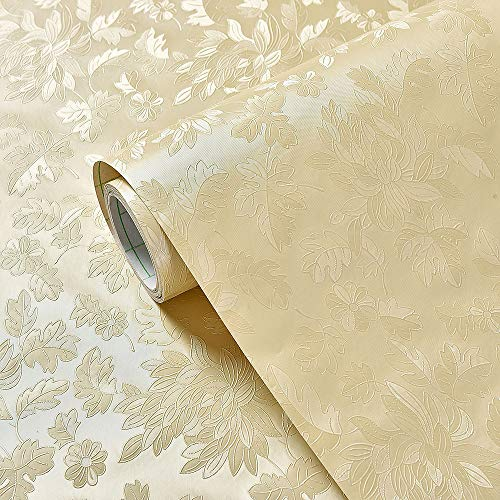 Wall Paste Self-Sticking 3D Waterproof Living Room Bedroom Hotel Hotel Background Wall Wallpaper Paste. (60CM x 10 m) A507 (Beige Chrysanthemum Flaps)