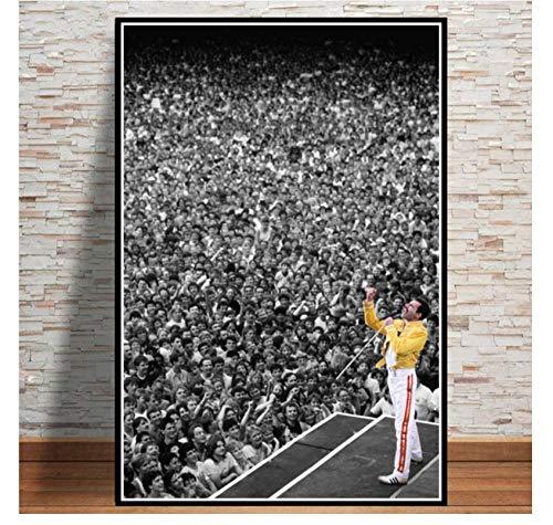 MTHONGYAO Póster Freddie Mercury 1986 Queen Legendery Singer Star Poster Cuadros de Pared para Sala de Estar Pintura sobre Lienzo Decoración del hogar 50 * 70cm Sin Marco