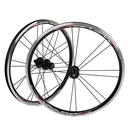 A100 406 Juego De Ruedas De Bicicleta Carretera Plegable De 20 Pulgadas con Buje Ultraligero Freno De Disco/V (Color : A, Talla : 74/130 (V Brake))