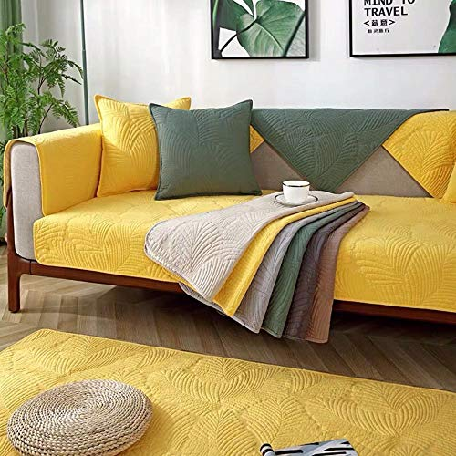 kinfuki Furniture Sofa Slipcover,Water Resistant Couch Cover,Full Cover Cotton Sofa Cover Free 2 Pillowcases-Yellow, 110 * 210