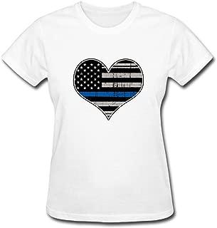 CNTJC Women's Thin Blue Line Flag American Flag T Shirt XXL