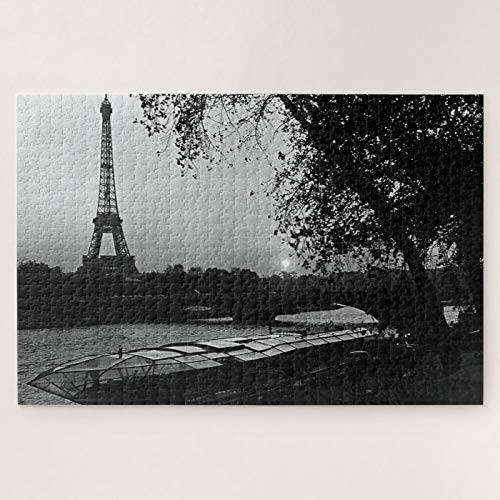 Jigsaw Puzzles 500 Pieces For Adults Large Piece Puzzle Vintage France Paris Eiffel Tower Sunset Wooden Intellectual Puzzles Fun Challenging Family Activity Game Toys Gift Wall Decoration