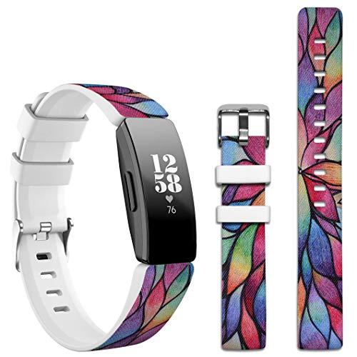 Topgraph Kompatibel mit Fitbit Inspire HR / Ace2 Armband,Silikon Band Sport Ersatzband Uhrenarmband für Fitbit Inspire HR Smartwatch [Colorful Flower Blossom Designer]