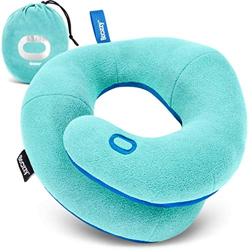 BCOZZY Kids- Travel Pillow- Supports Child's Head, Neck & Chin While Sleeping in Booster Carseat. Best Toddler Accessory & Activity for Traveling on Airplane and Road Trips. Light Blue