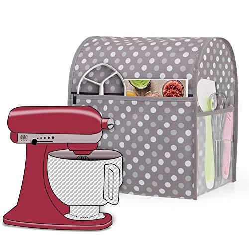 Luxja Staubschutzhülle ist vereinbar mit 4,3 L- und 4.8 L-KitchenAid-Küchenmaschine, Staubschutzhaube mit Aufbewahrungstaschen für Küchenmaschine und zusätzliches Zubehör, Grau Punkt