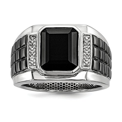 925 Sterling Silver White Night Diamond Black Onyx Square Mens Band Ring Size 11.00 Gemstone Man Fine Jewelry For Dad Mens Gifts For Him