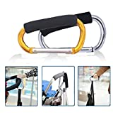 Large Stroller Hooks for Mommy, 2 pcs Carabiner Stroller Hook Organizer for Hanging Purses, Diaper Bag, Shopping Bags. Clip Fits Single/Twin Travel Systems, Car Seats (Silver+Golden Yellow)