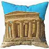 Ducan Lincoln Pillow Case 2PC 18X18,Funda De Almohada Suave,Funda De Almohada De Tiro Cuadrado Fundas Valle Los Templos El Templo Griego Antiguo Construido En El Siglo A.C.Dei Templi Concordia Un 5Th