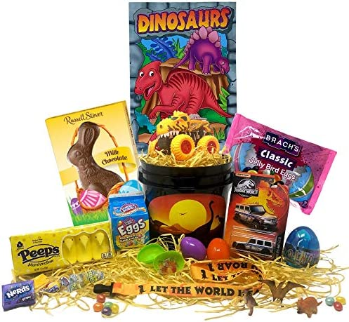 Dinosaur Easter Gift Basket For Kids Boys Girls Filled with Easter Eggs Candy Chocolate Great product image