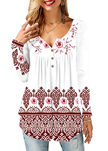KISSMODA Plus Size Damenhemden Langarm Loose Fitting Casual White Tops für Damen...