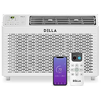Della 8000 BTU Energy Star Window Air Conditioner 110V/60Hz Whisper Quiet AC For Rooms up to 350 sq ft, Cooling, Dehumidifier, Fan With Smart Control, Alexa, Remote