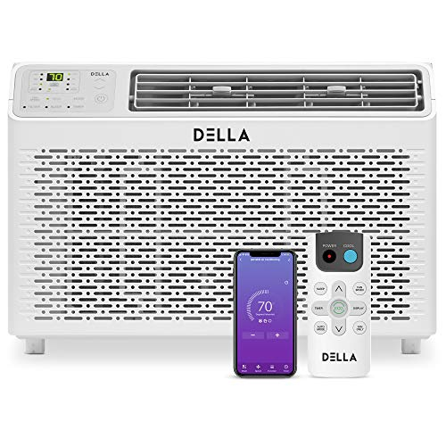 Della 12000 BTU Energy Star Window Air Conditioner 110V/60Hz Whisper Quiet AC For Rooms up to 450 sq ft, Cooling, Dehumidifier, Fan With Smart Control, Alexa, Remote