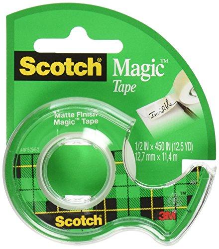 Scotch 104-12 3M Magic Tape (Pack of 12), 1/2 x 450 Inches