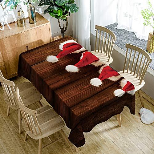 Tafelkleed rechthoek, kinder cartoon, duurzaam tafelkleed polyester aangroeiwerende, huishoudelijke artikelen, rode kerstmuts, keukendecoratie waterdicht tafelkleed 140x180cm