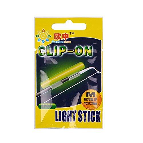 Forfar Beautyrain 2pcs FluorescentLightsticks de pêche éclairage de Nuit Luminous Rod Brille dans Le Noir Clip on bâtons Lumineux