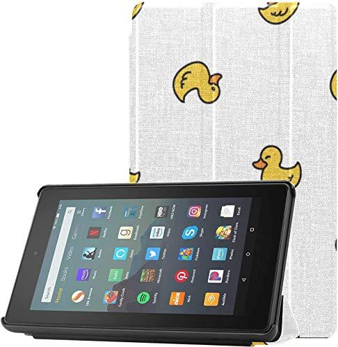 Funda Fire 7 2019 Funda de Goma con diseño de Pato con repetición de Papel Tapiz Bufanda Kindle Fire 7 HD Funda para Tableta Fire 7 (9a generación, versión 2019) Ligera con Reposo automático/Activa