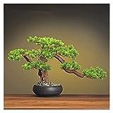 ffshop bonsái Artificial 13 Pulgadas Simulación Planta Potted Decorative Bonsai, Bonsai Artificial Bonsai Boicing Pine Tree, Cumpleaños Y Navidad para decoración