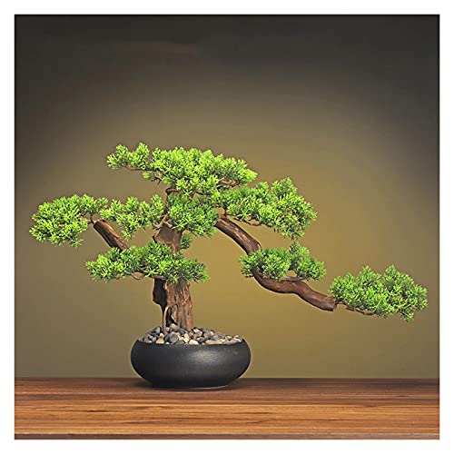 YHshop Fake Plants/Faux Plants 13 Inches Simulation Potted Plant Decorative Bonsai,Artificial Bonsai Welcoming Pine Tree, The for Birthday and Christmas Artificial indoor plants