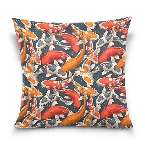 Chic Houses Funda de cojín cuadrada con cremallera, diseño de animales de peces