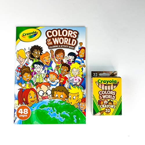 Crayola Colors of The World 48 Page Coloring & Activity Book with 32 Count Multicultural Crayons, Art Bundle