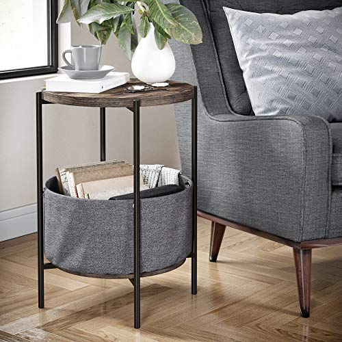 Nathan James 32201 Oraa Round Wood Side Table with Fabric Storage, Nutmeg Brown/Black